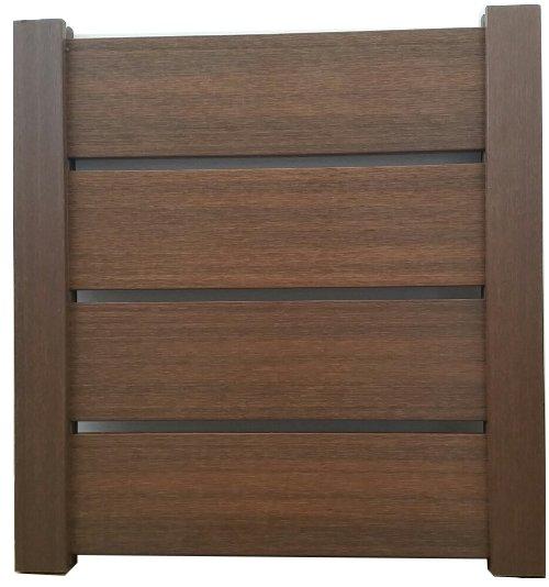 Valla madera artificial GREEN DECK IPE 120 cm ancho x 120 cm alto, y 1 poste, 1 varilla galva